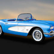 1961 Chevrolet C1 Corvette Convertible   -   61vette700 Art Print