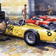 1961 Spa-francorchamps Ferrari Garage Ferrari 156 Sharknose  Art Print
