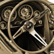 1963 Chevrolet Corvette Steering Wheel - Sepia Art Print