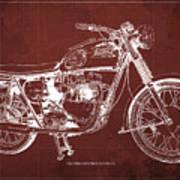 1963 Triumph Bonneville, Blueprint Red Background Art Print
