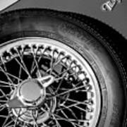 1964 Morgan 44 Spare Tire Black And White Art Print