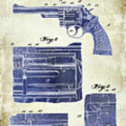 1964 Smith And Wesson Gun Patent Two Tone Art Print