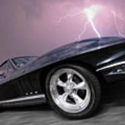 1966 Corvette Stingray With Lightning Art Print