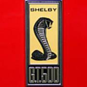 1967 Ford Shelby Gt 500 Cobra Fender Emblem On Red Art Print