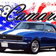 1968 Camaro Stars And Stripes Art Print