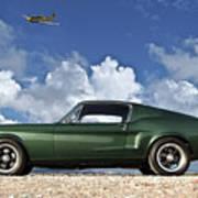 1968 Ford Bullitt Mustang Gt 390 Fastback, P-51 Mustang, Plymouth Rock Chicken Art Print