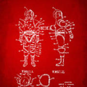 1968 Hard Space Suit Patent Artwork - Red Art Print