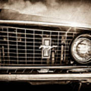1969 Ford Mustang Grille Emblem -0129s Art Print