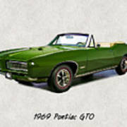 1969 Green Pontiac Gto Convertible Art Print