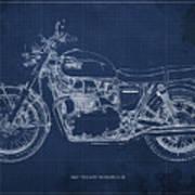 1969 Triumph Bonneville Blueprint Blue Background Art Print