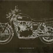 1969 Triumph Bonneville Blueprint Brown Background Art Print