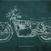 1969 Triumph Bonneville Blueprint Green Background Art Print