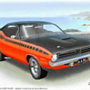 1970 Barracuda Aar  Cuda Classic Muscle Car Art Print