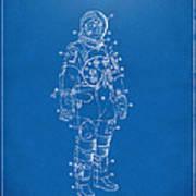 1973 Astronaut Space Suit Patent Artwork - Blueprint Art Print