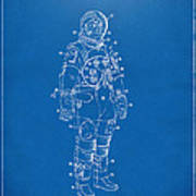 1973 Astronaut Space Suit Patent Artwork - Blueprint Print by Nikki Marie Smith