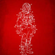 1973 Astronaut Space Suit Patent Artwork - Red Art Print by Nikki Marie Smith