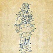 1973 Astronaut Space Suit Patent Artwork - Vintage Print by Nikki Marie Smith