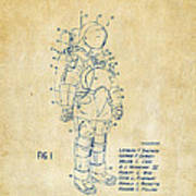1973 Space Suit Patent Inventors Artwork - Vintage Art Print