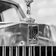 1976 Rolls Royce Saloon Hood Ornament Bw Art Print