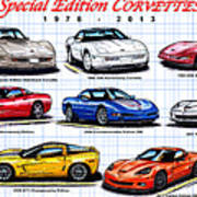 1978 - 2011 Special Edition Corvettes Art Print