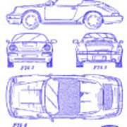1990 Porsche 911 Patent Blueprint Art Print