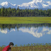 1m1326 Wife And Son In Denali National Park Art Print