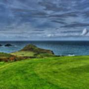 1st Green Cape Cornwall Golf Club Art Print by Chris Thaxter