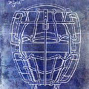 1887 Baseball Mask Patent Blue Art Print