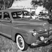 1942 Ford Super Deluxe Sedan Bw  Art Print