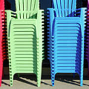 A Rainbow Of Chairs Art Print