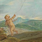 Angel Flying A Kite Art Print