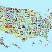 Animal Map Of United States For Children And Kids 2 Framed Print