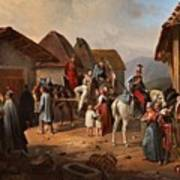 Austrian Cavalry Resting In A Village Art Print