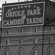 Baltimore Orioles Park At Camden Yards Bw Art Print