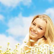Beautiful Woman Enjoying Daisy Field And Blue Sky Art Print