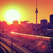 Berlin - Sunset Skyline Art Print