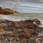 Bracelet Bay And Mumbles Lighthouse Art Print