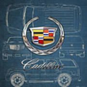 Cadillac 3 D Badge Over Cadillac Escalade Blueprint  Art Print