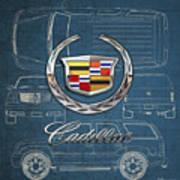 Cadillac 3 D Badge over Cadillac Escalade Blueprint  Art Print