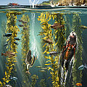 California Kelp Forest Art Print