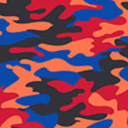Camouflage Pattern Background Seamless Clothing Print, Repeatabl Art Print