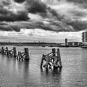 Cardiff Bay Panorama Mono Art Print
