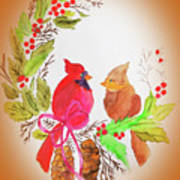 Cardinals Painted By Linda Sue Art Print