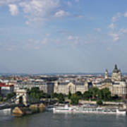 Chain Bridge On Danube River Budapest Cityscape Art Print