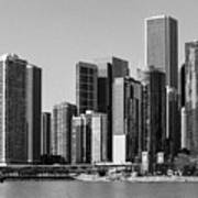 Chicago Skyline In Black And White Art Print