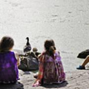 Children At The Pond 5 Art Print