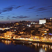 City Of Porto In Portugal By Night Art Print