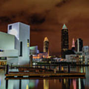 Cleveland Skyline At Night Art Print