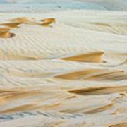 Close-up Of Beautiful Sunlit Ripple Surface Of Sand In Desert  Art Print