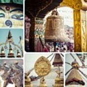 Collage Of Kathmandu  Art Print